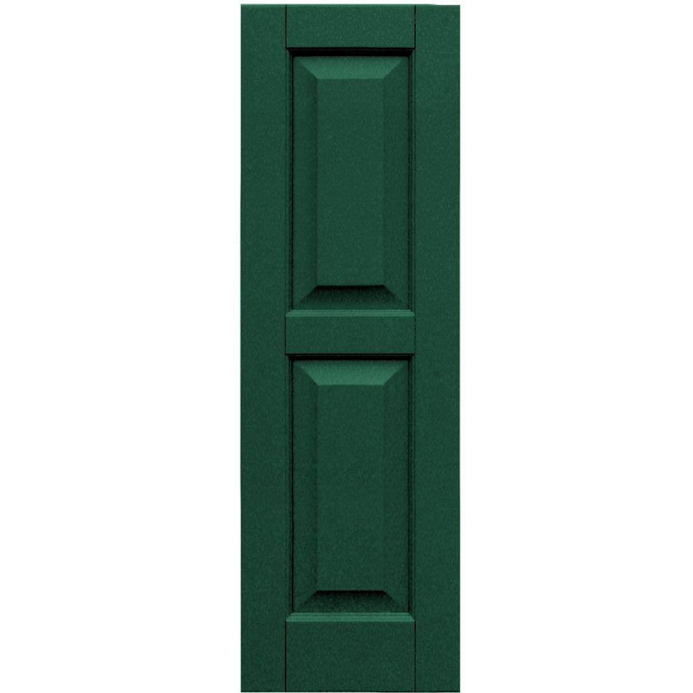 Winworks Wood Composite 12 in. x 38 in. Raised Panel Shutters Pair #633 Forest Green