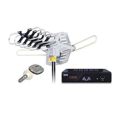 Amplified HD Digital Outdoor HDTV Antenna 360° Rotation UHF VHF FM Radio Remote Control for 2 TVs