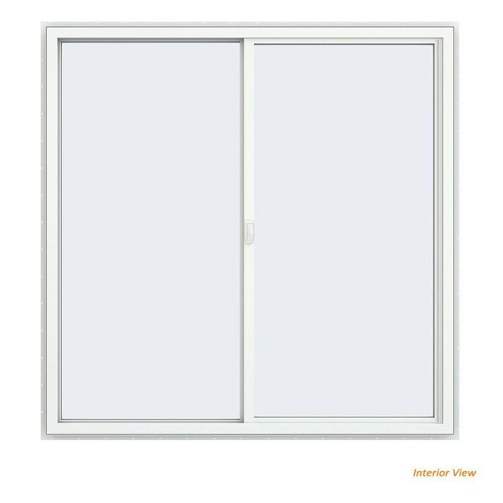 59.5 in. x 59.5 in. V-4500 Series Desert Sand Painted Vinyl Left-Handed Sliding Window with Fiberglass Mesh Screen