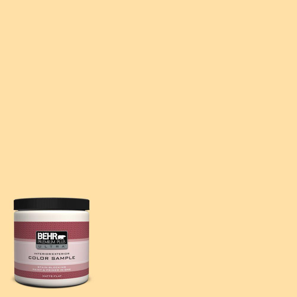 BEHR Premium Plus Ultra 8 oz. #310A-3 Manila Tint Matte Interior/Exterior Paint and Primer in One Sample