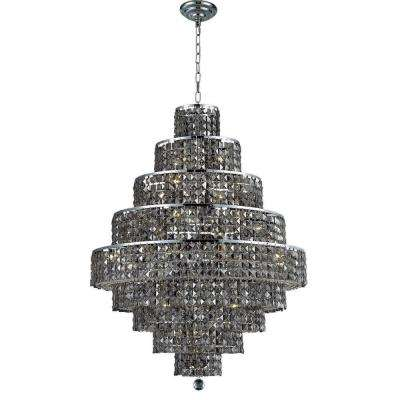 20-Light Chrome Chandelier with Silver Shade Grey Crystal