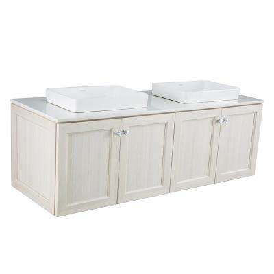 Brunfield 61 in. W x 22 in. D Vanity Cabinet in Light Grey with Engineered Stone Vanity Top in White with White Sinks