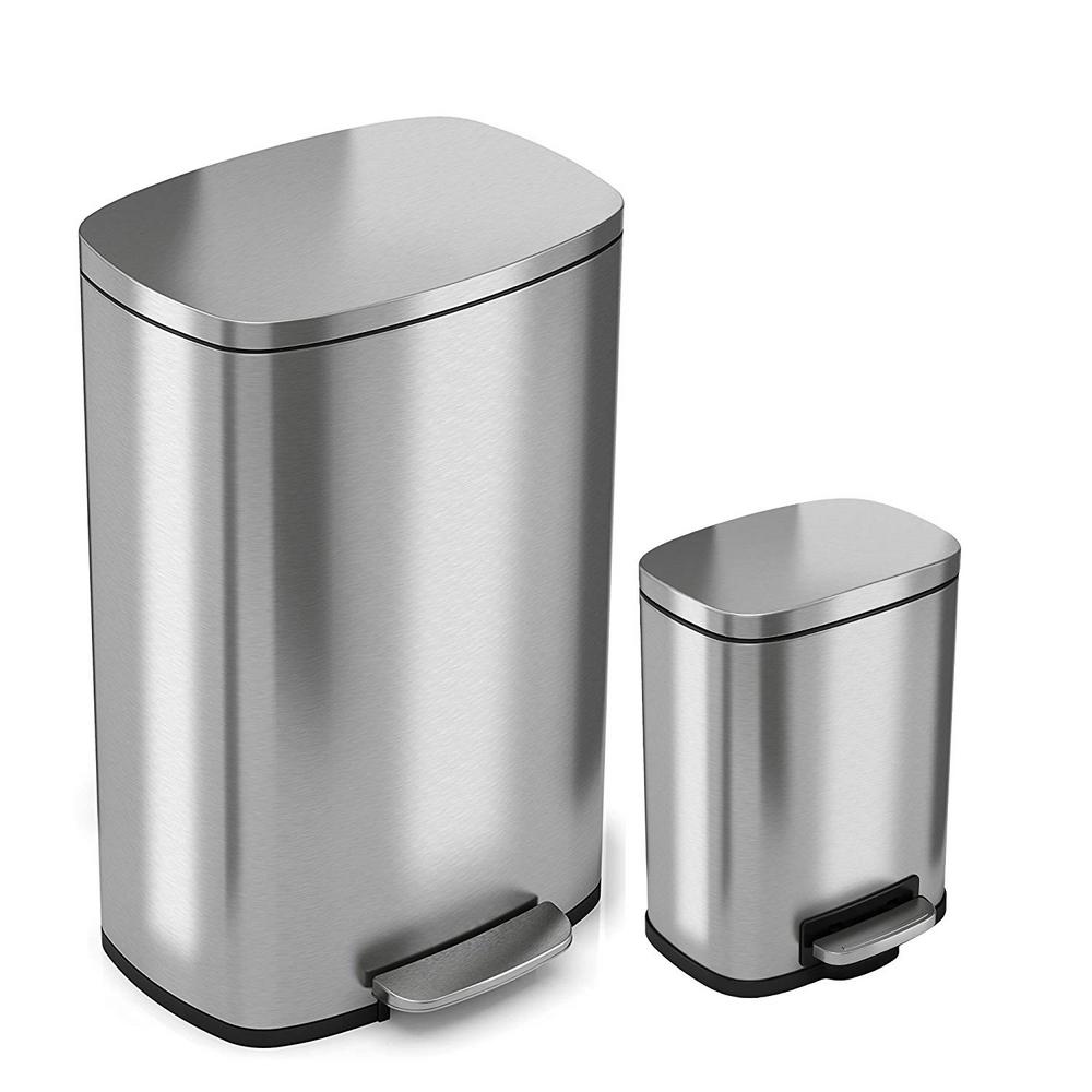 ca2928dcd05 iTouchless SoftStep 13 Gal. and 1.32 Gal. Stainless Steel Step Trash ...