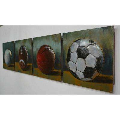 "12 in. x 49 in. ""Sports Life"" Metal Wall Art"