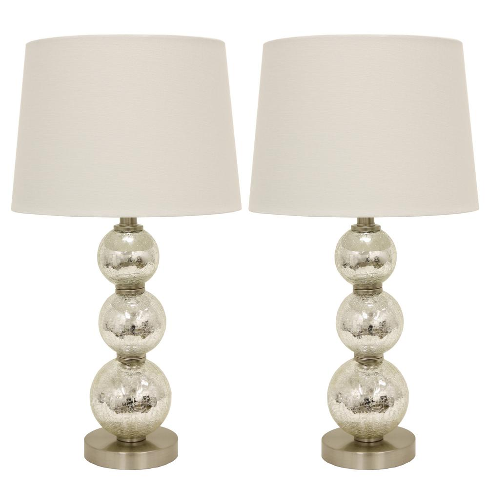 Decor Therapy Tri-Tiered 24 in. Gold Mirror Crackled Clear Glass Table Lamps
