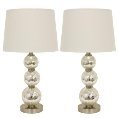 Tri-Tiered 24 in. Gold Mirror Crackled Clear Glass Table Lamps