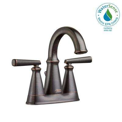 Edgemere 4 in. Centerset 2-Handle Bathroom Faucet with Metal Speed Connect Drain in Legacy Bronze