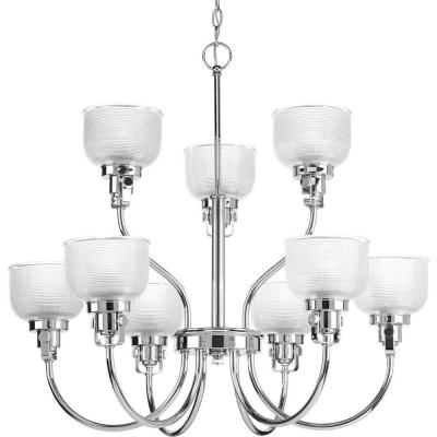 Archie Collection 9-Light Chrome Chandelier with Clear Prismatic Glass Shade