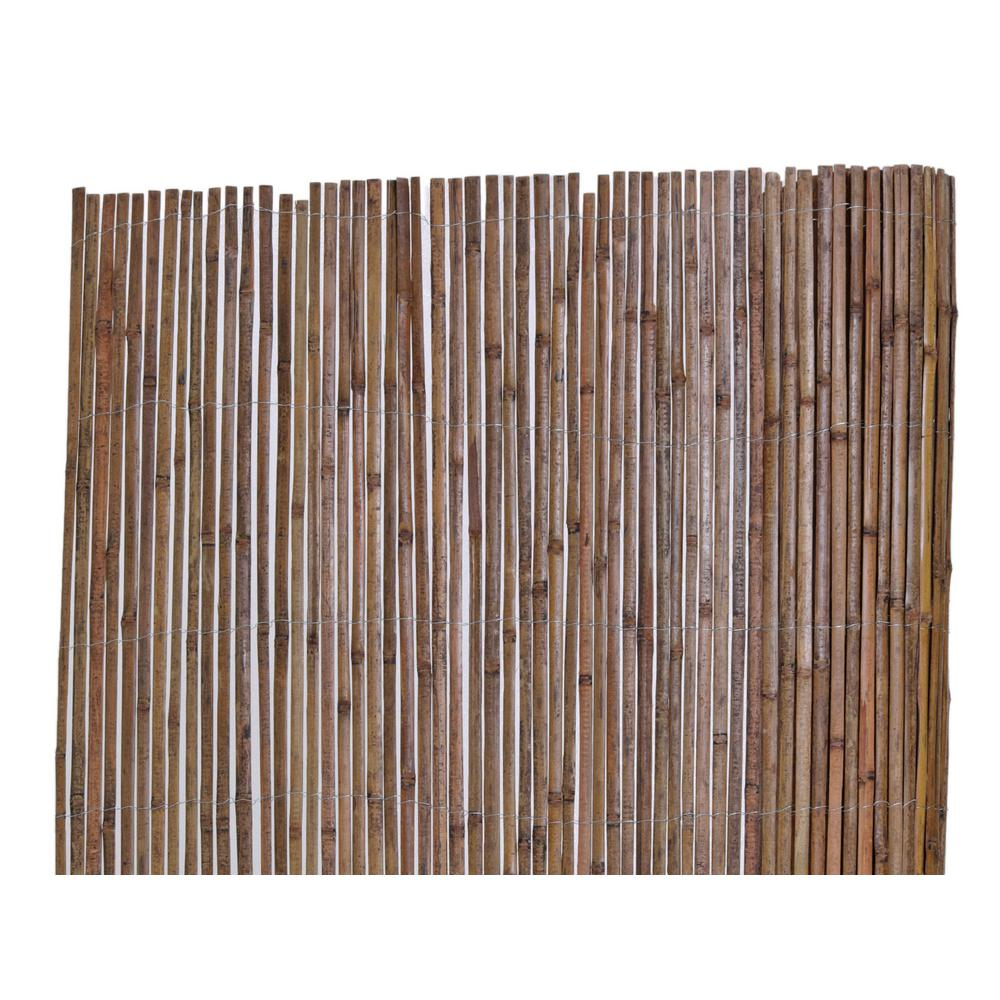 Backyard X-Scapes 6 ft. H x 16 ft. L Bamboo Carbonized Split Slat Fencing