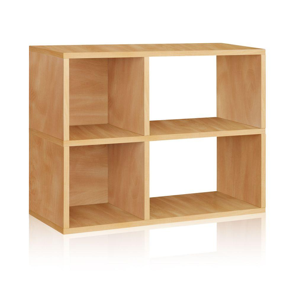 Way Basics Chelsea 2-Shelf 12 x 32.1 x 24.8 zBoard  Bookcase, Tool-Free Assembly Cubby Storage in Natural Wood Grain