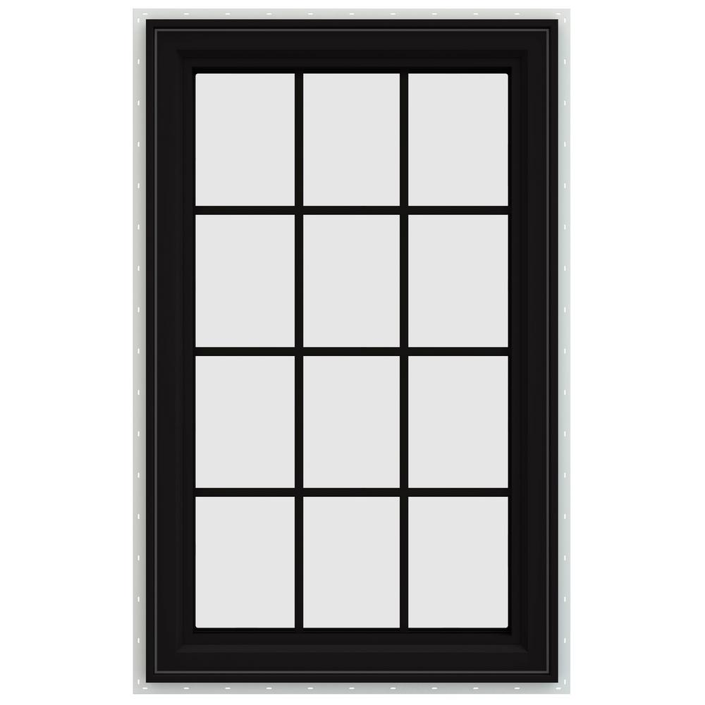 jeld wen 29 5 in x 47 5 in v 4500 series left hand casement vinyl window with grids black. Black Bedroom Furniture Sets. Home Design Ideas