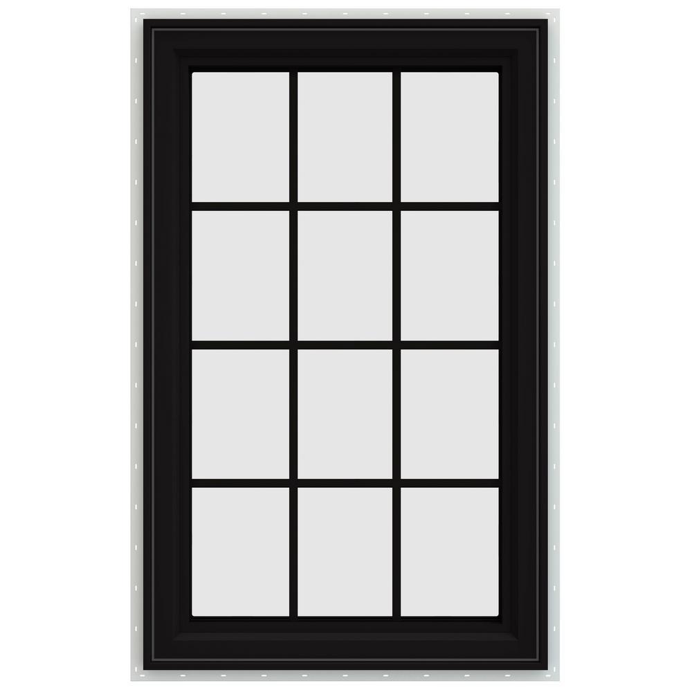 35.5 in. x 47.5 in. V-4500 Series Left-Hand Casement Vinyl Window with Grids - Black