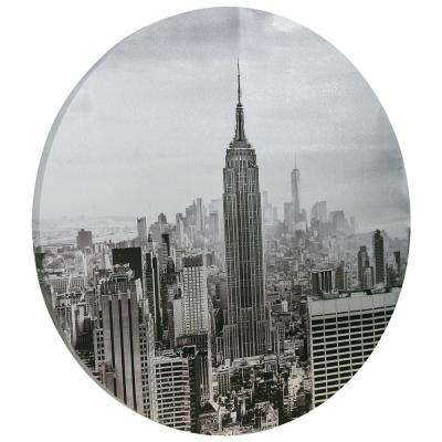 """Empire State Building"" Circular silver canvas Giclee printed on 2 in.  Wood Stretcher Wall Art"