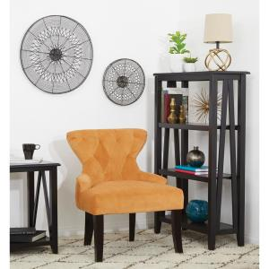 Ave Six Curves Butternut Velvet Fabric Hour Glass Accent Chair with Espresso Legs by Ave Six