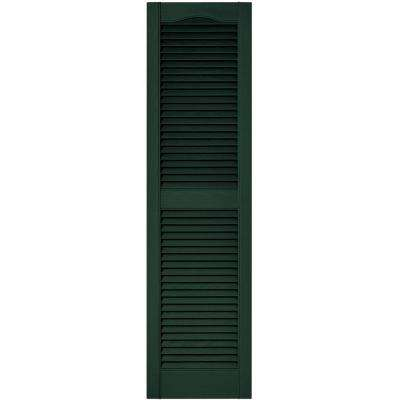 15 in. x 55 in. Louvered Vinyl Exterior Shutters Pair in #122 Midnight Green