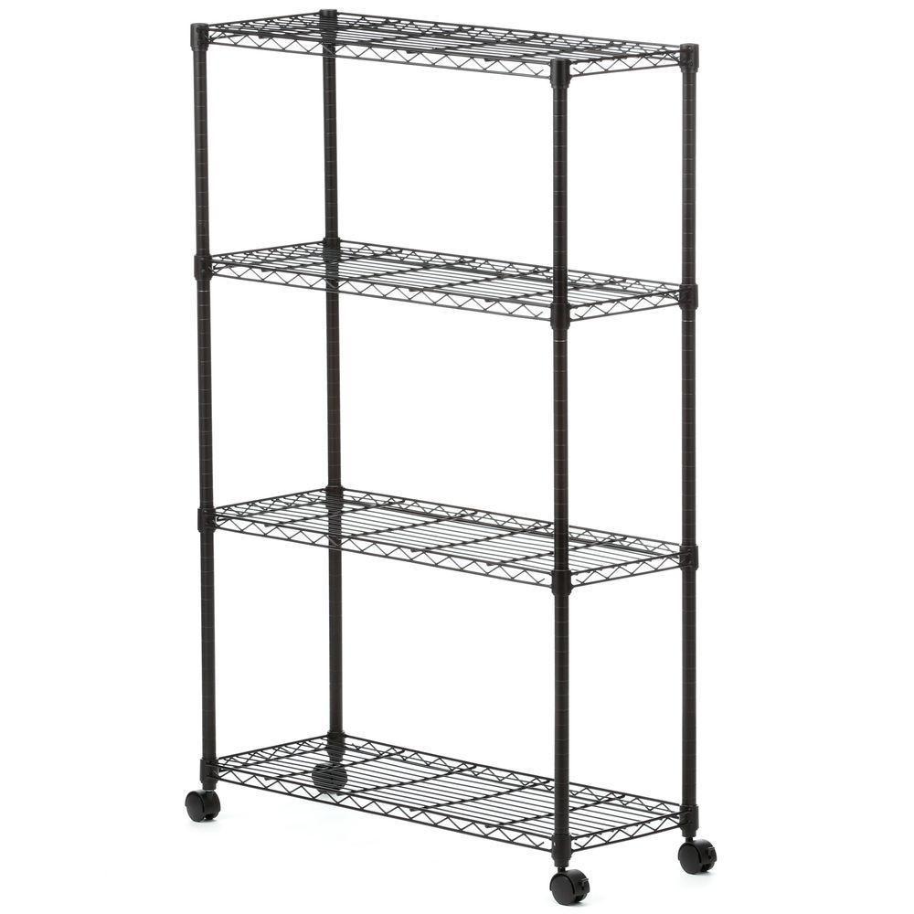 Sandusky 54 in. H x 36 in. W x 14 in. D 4-Shelf Steel Mobile Shelving Unit in Black