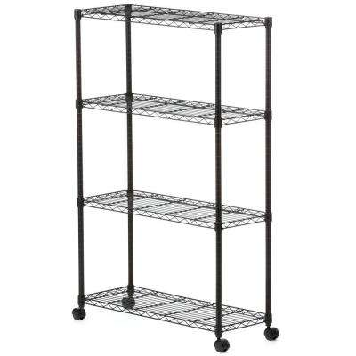 54 in. H x 36 in. W x 14 in. D 4-Shelf Steel Mobile Shelving Unit in Black