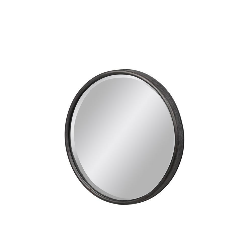 Round Gray Tarnished Wall Mirror