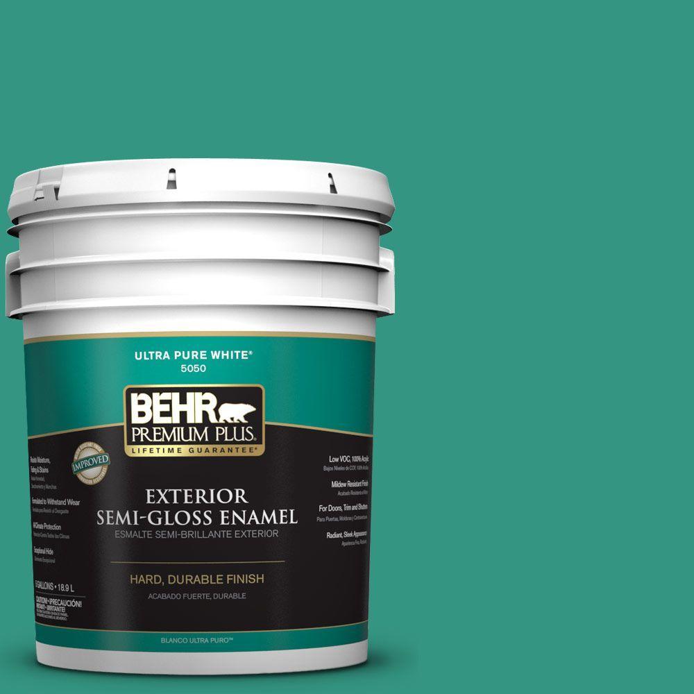BEHR Premium Plus 5-gal. #P440-6 Esmeralda Semi-Gloss Enamel Exterior Paint