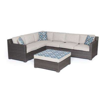 Sahara 5-Piece Wicker Outdoor Conversation Set with Gray Cushions
