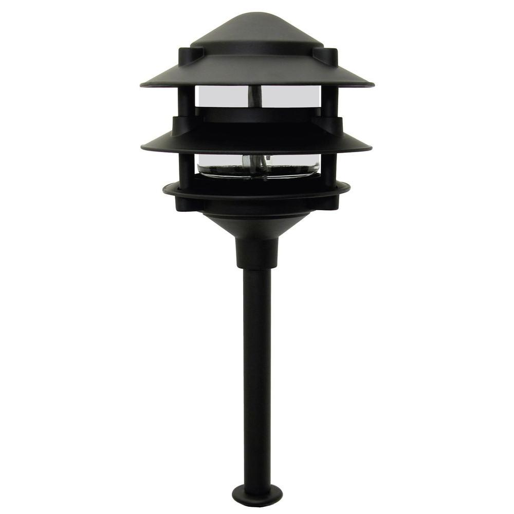 Moonrays pagoda style 3 tier low voltage 11 watt black for Low voltage walkway lighting sets