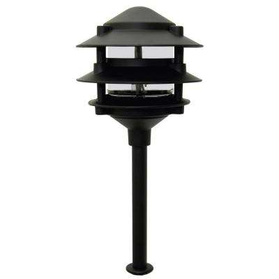 Pagoda-Style 3-Tier Low-Voltage 11-Watt Black Metal Outdoor Landscape Path Light