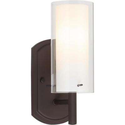 Regina 1-Light 4.25 in. Antique Bronze Bathroom Vanity Wall Sconce Mount Outer Clear & Inner White Glass Cylinder Shades