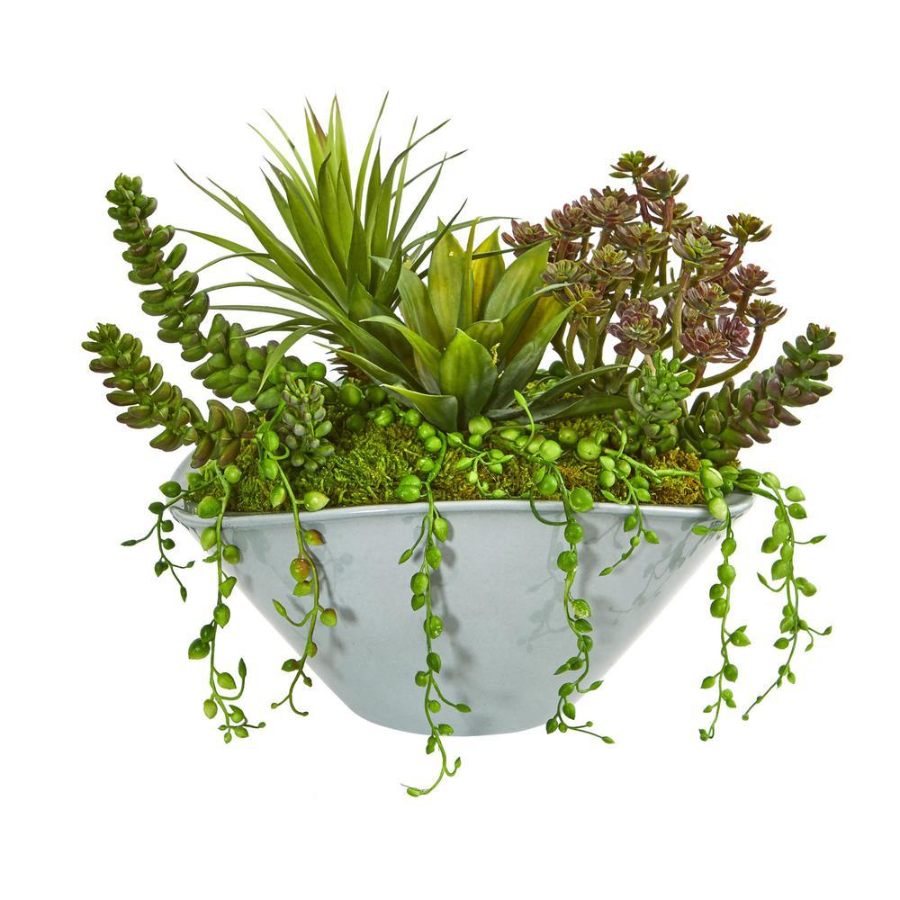 Indoor Succulent Garden Artificial Plant in Green Vase