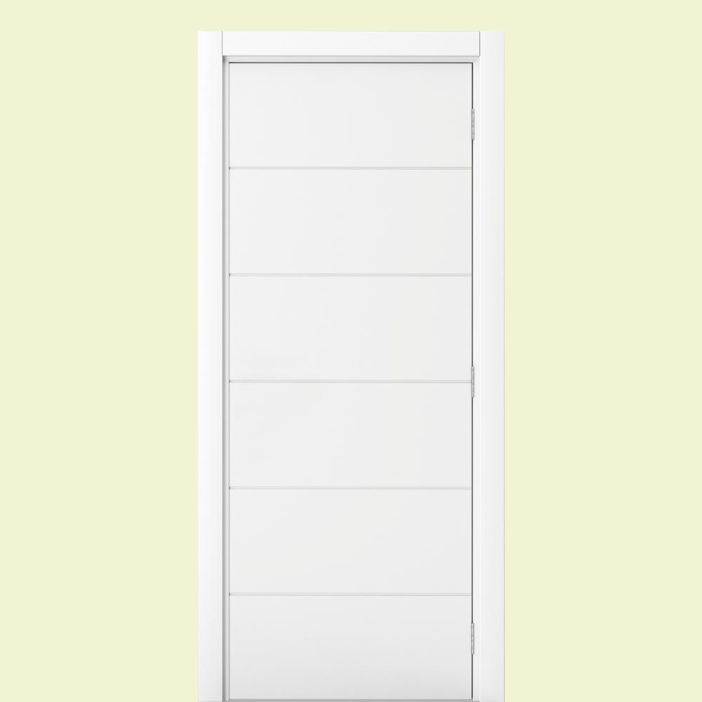 Vert 24 In X 80 In Modern 6 Panel 45 90 Right Handed White Solid Core Wood Single Prehung Interior Door 24x80xm6p45 90mwscr The Home Depot