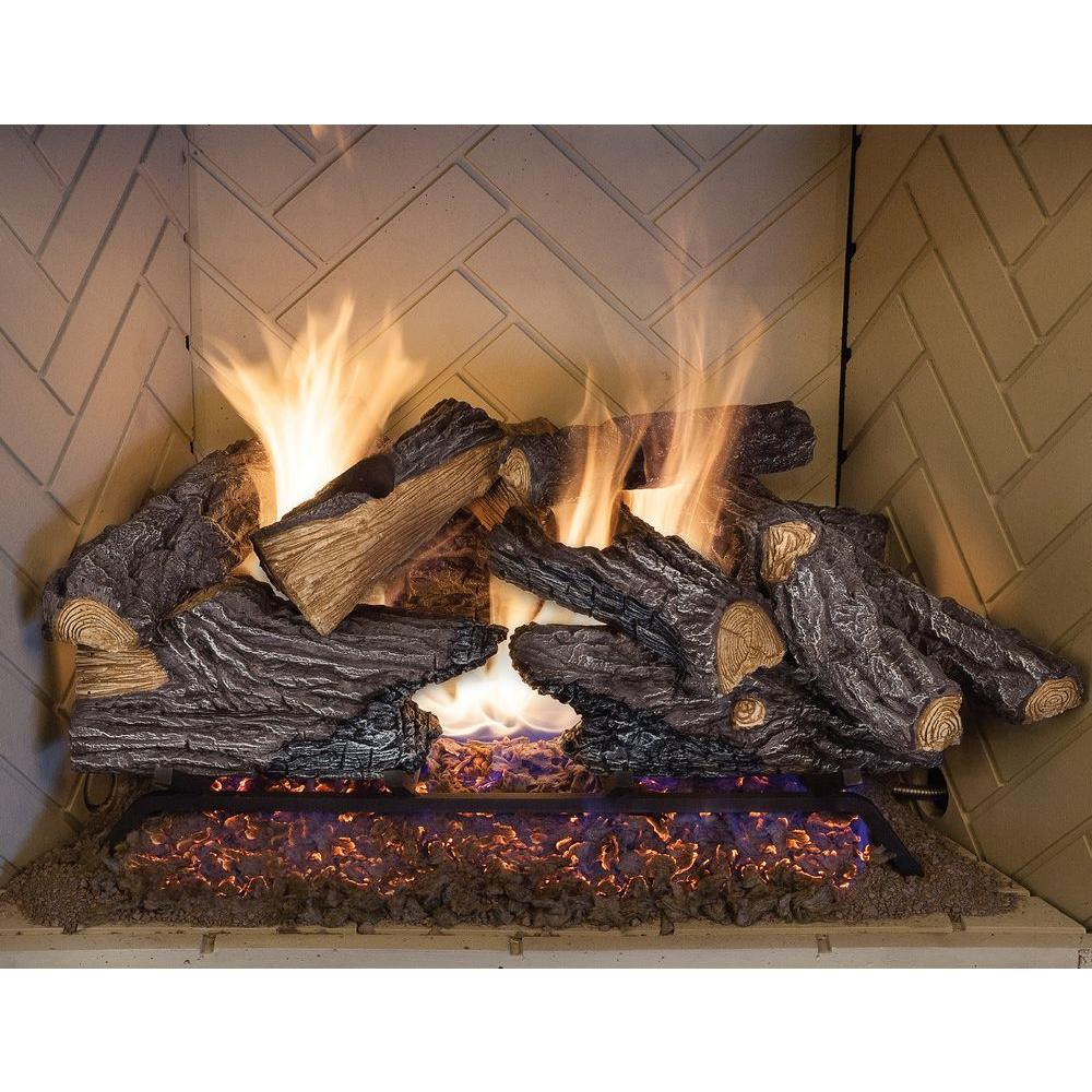 Create the ambiance your home by choosing this Emberglow Split Oak Vented Natural Gas Log Set. Offers lasting durability.