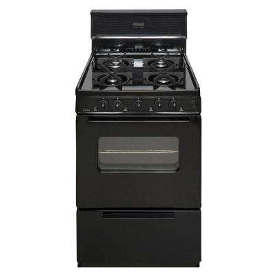 24 in. 2.97 cu. ft. Gas Range in Black