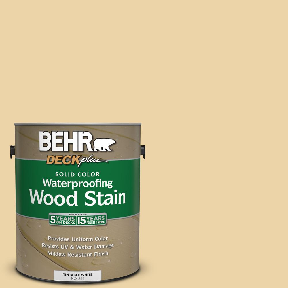BEHR DECKplus 1 gal. #SC-133 Yellow Cream Solid Color Waterproofing Wood Stain