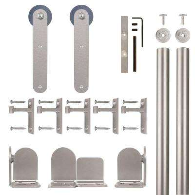 Stick Satin Nickel Rolling Door Hardware Kit for 1-1/2 in. to 2-1/4 in. Door