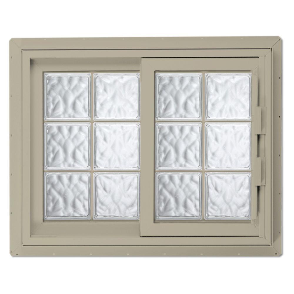 Hy-Lite 52.75 in. x 46.125 in. Acrylic Block Left-Hand Sliding Vinyl Window - Tan