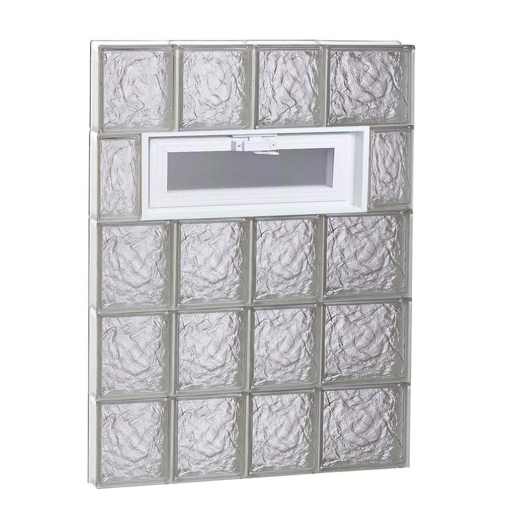 25 in. x 38.75 in. x 3.125 in. Ice Pattern Vented Glass Block Window