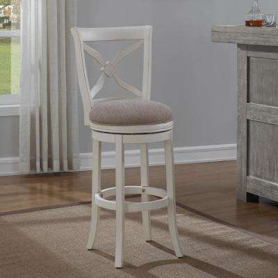 Accera 26 in. Distressed Antique White Swivel Counter Stool