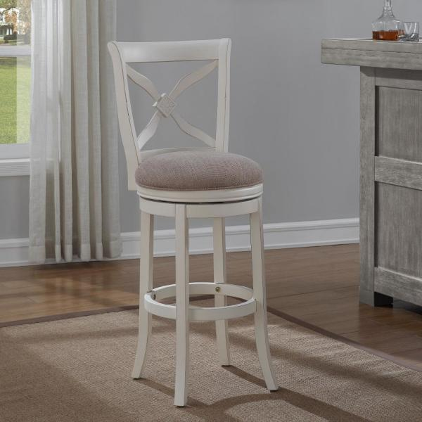 American Woodcrafters Accera 34 in. Distressed Antique White Swivel Tall Bar Stool