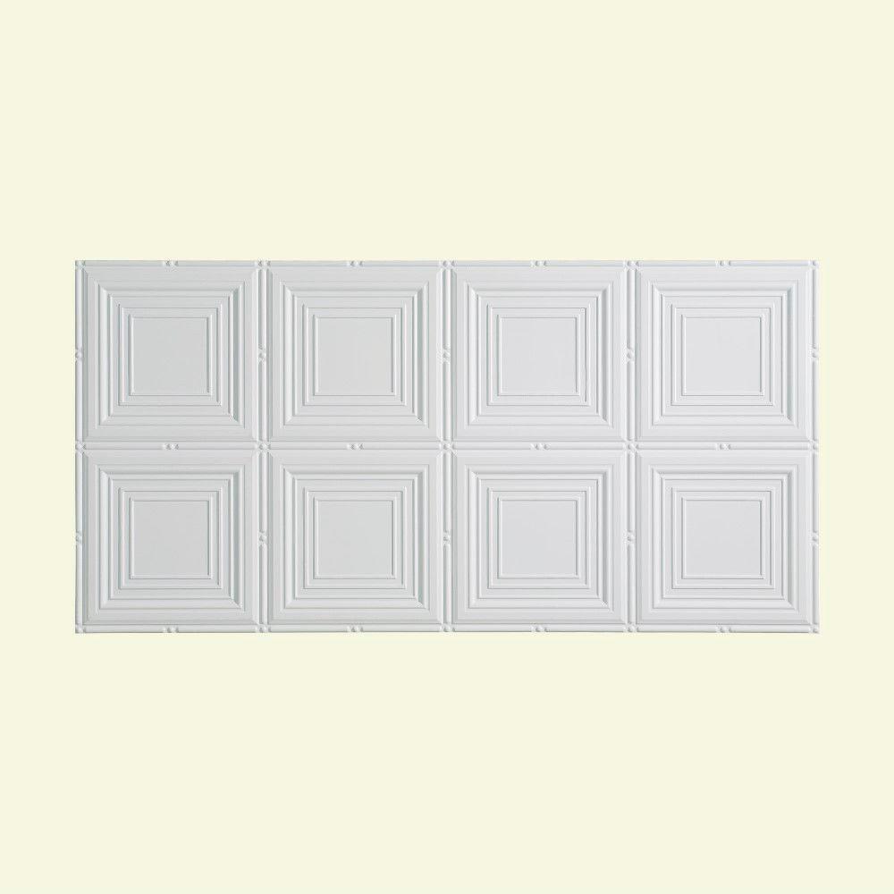 Portrait 2 ft. x 4 ft. Glue-Up Ceiling Tile in Matte White
