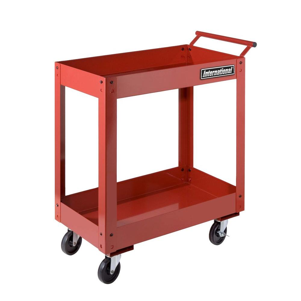 International 27 in. 2 Tray Utility Cart, Red