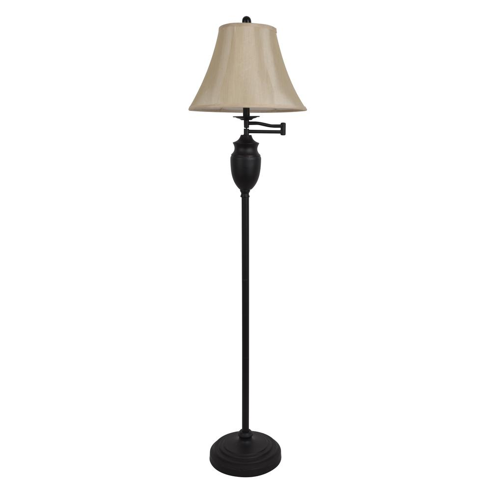 Wellington 59 in. Bronze Floor Lamp with Faux Silk Shade