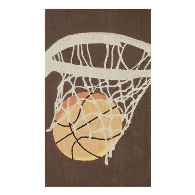 Hoops Brown 3 ft. x 5 ft. Indoor Area Rug