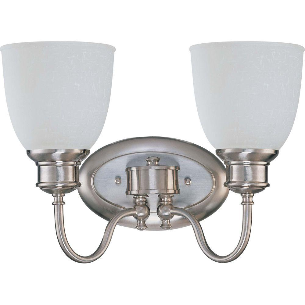 2-Light Brushed Nickel Vanity Light with Frosted Linen Glass