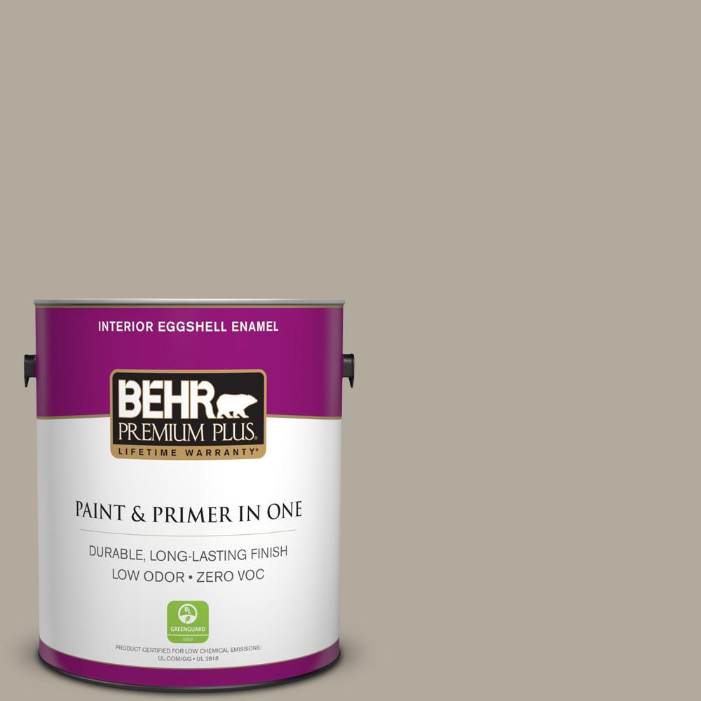 BEHR Premium Plus 1-gal. #PPF-33 Terrace Taupe Zero VOC Eggshell Enamel Interior Paint