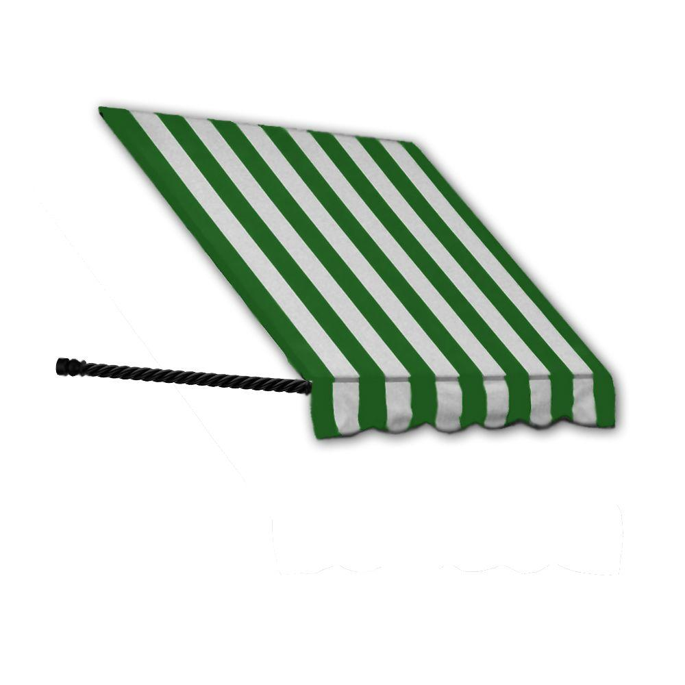 AWNTECH 25 ft. Santa Fe Window/Entry Awning Awning (44 in. H x 36 in. D) in Forest / White Stripe