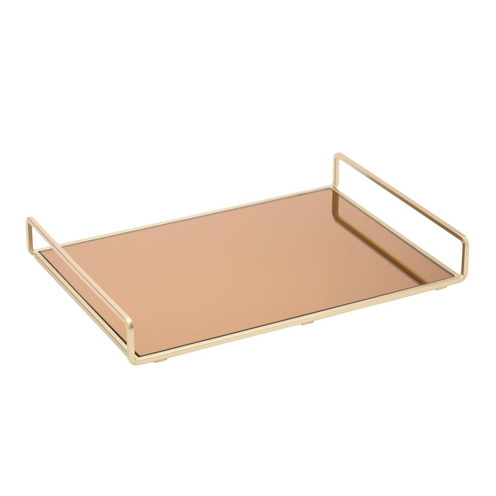 Large Classic Design Mirror Vanity Tray in Gold