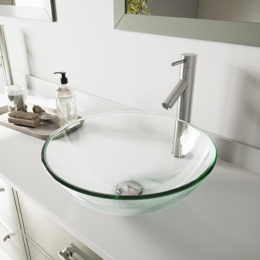 VIGO Glass Vessel Bathroom Sink in Clear Crystalline and Dior Vessel Faucet Set in Brushed Nickel