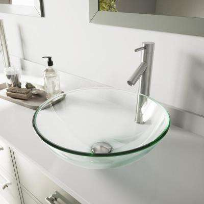 Glass Vessel Bathroom Sink in Clear Crystalline and Dior Vessel Faucet Set in Brushed Nickel