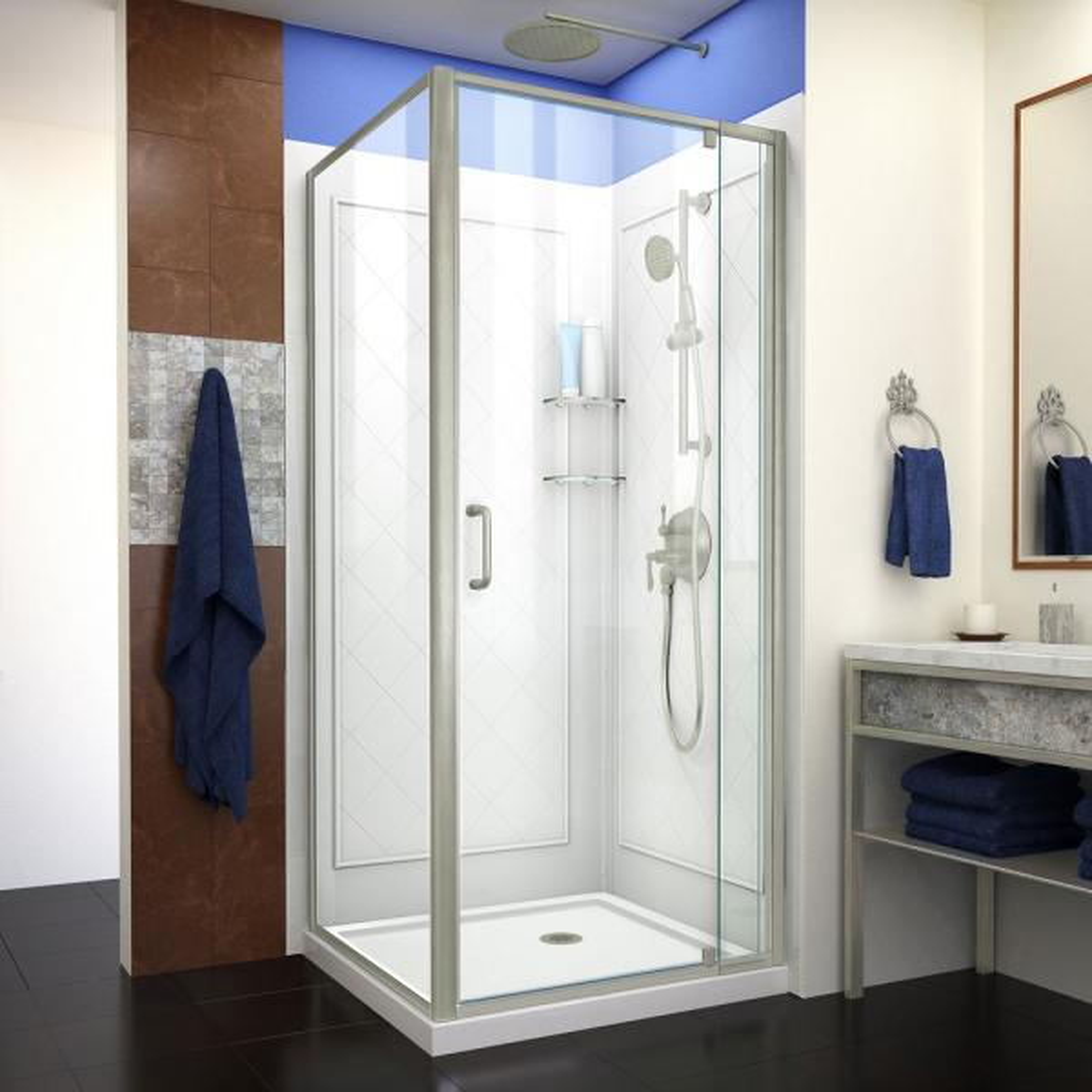 Flex 36 in. x 36 in. x 76.75 in. Framed Corner Pivot Shower Kit in Brushed Nickel with Shower Base in White