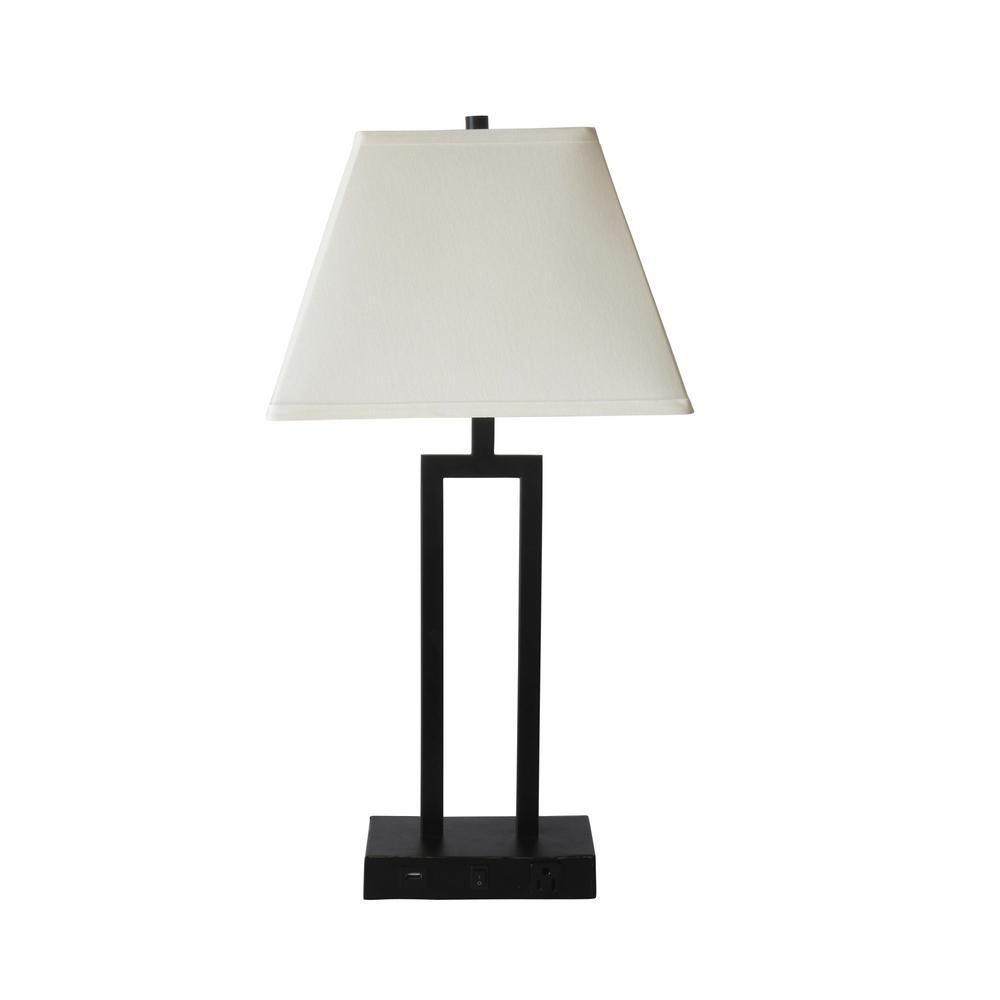 Fangio Lighting 27 In Tech Friendly Bronze Table Lamp With 1 Outlet And 1 Usb Port In Base
