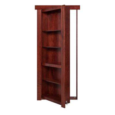 28 in. x 80 in. Flush Mount Assembled Cherry Stained Left-Hand Outswing Solid Core Interior Bookcase Door